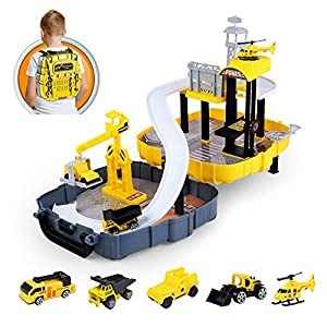 Best Epic Trends 51awS%2BpMeIL._SS300_ Construction Vehicles Set for Kids , Engineering Truck with Race Track Ramp,Helicopter,Bulldozer, Mixer. Crane Toys for…