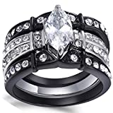 Mabella Black Wedding Ring Set Stainless Steel Marquise Cubic Zirconia for Women Size 5-11