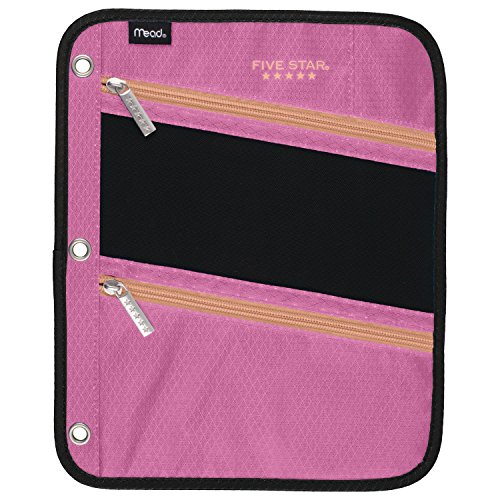 Five Star Pencil Pouch, Pen Case, Fits 3 Ring Binder, Zipper Pouch, Pink/Coral (50642CD8)]()