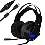 USB Gaming Headset, RedHoney 7.1 Surround Sound Stereo LED Games Headphone with Mic for PC Mac Laptop PS3 PS4 Xbox One Xbox 360 Black