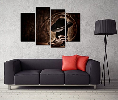 VVOVV Wall Decor -4 Piece Canvas Prints Cowboy Hat and Boots American West Rodeo Elements Traditional Black Felt Hat Vintage Picture Prints On Canvas Stretched and Ready To Hang(48x34inch)