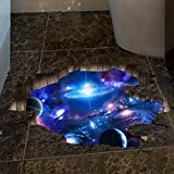 Bokeley Removable 3D Wall Stickers, Outer Space Galaxy Sky Vinyl Wall Art Floor Decal,DIY Home Decals (D)