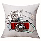 Cotton Linen Retro My Little Favorite Camera Travel Holiday Throw Pillow Covers Cushion Cover Decorative Sofa Bedroom Living Room Square 18 Inches