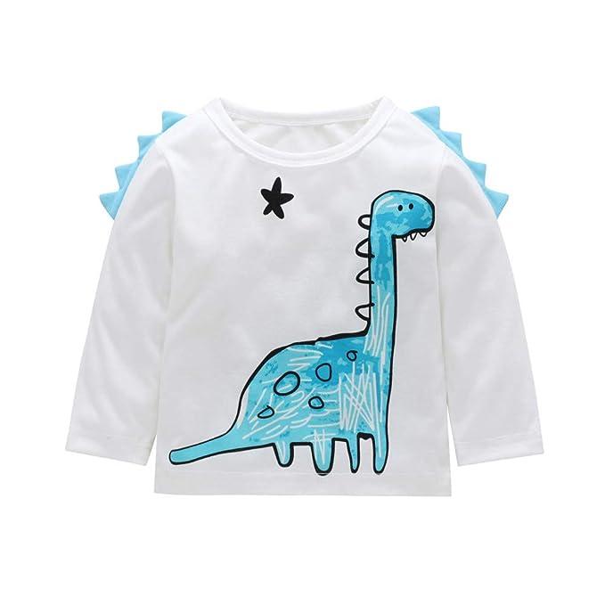 YanHoo Ropa para niños Camiseta de Manga Larga con Estampado de Dinosaurio de Cuello Redondo y Manga Larga para niños Manga Larga Camiseta Tops Trajes de ...