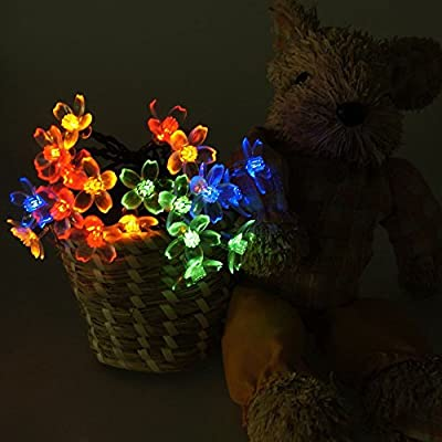 SALICO Solar String Lights Outdoor Flower Fairy Garden Light 50 LEDs Multicolor Blossom Lighting for Christmas Halloween Wedding Party Patio Decoration (Low Voltage &Waterproof)