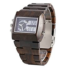 Bewell Men's Wood Watch W021A with Japan Movement Fashion Design Watch and LED Light Display Wooden Watch