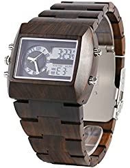 Bewell Mens Wood Watch W021A with Double Japan Movement Fashion Design Quartz Watch and LED Light Display Wooden...