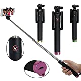 Atree Extendable Handheld Wireless Bluetooth Selfie Stick with Universal Phone Holder for Iphone 6+ 6 5s 5c 5 4s 4 Samsung Galaxy S5 S4 S3 S2 Note 2 Note 3 Note 4 Moto X Droid 2 Google Nexus 4 Nexus 5 Blackberry HTC Sony LG (Magenta)