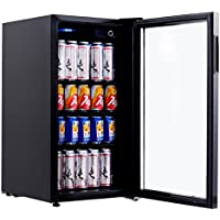 Costway 120 Can Beverage Refrigerator Portable Mini Beer Wine Soda Drink Beverage Cooler Black (120 Can)