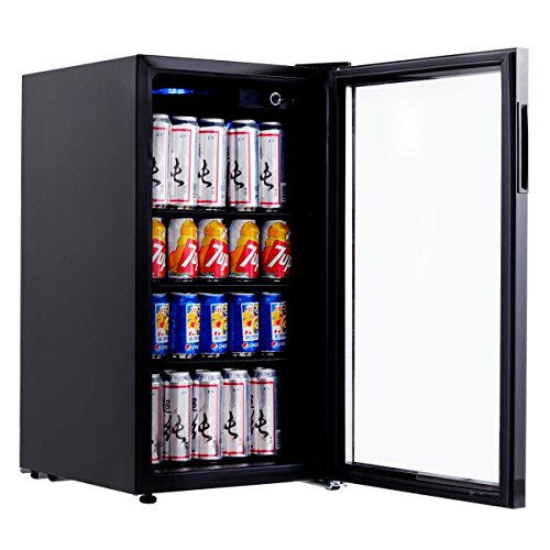 Costway 120 Can Beverage Refrigerator Portable Mini Beer Wine Soda Drink Beverage Cooler Black (120 Can)