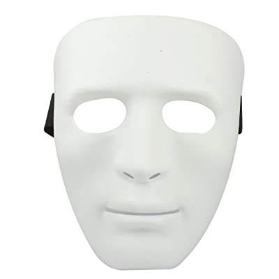 Man Adjustable Black Elastic Band Full Face Plastic Halloween Party Mask White (máscara/careta): Juguetes y juegos