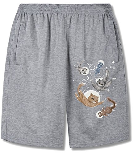 HappyAnimal Men Five Watercolor Cats in the Water short pants For man gray (Cute And Easy Hairstyles For Halloween)