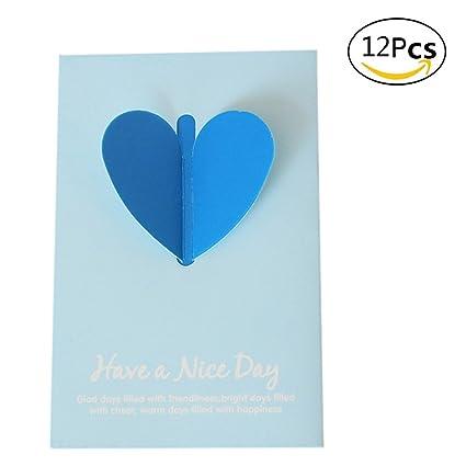 Cosanter 12pcs Color Amor Corazón Doblar Invitación Tarjeta