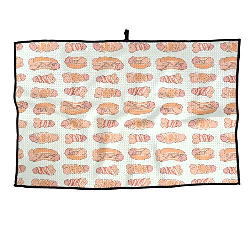 Jadetian Soft Microfiber Sports Golf Towel Happy Penis Dick Sweet Bacon Wrapped Ideal Quick Dry Towel - for Travel, Golf, Workout, Swimming, Gym Yoga, Camping, Fitness 24''15''