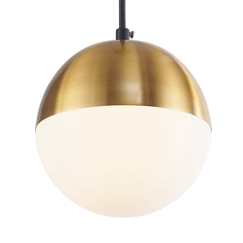"""ShengQing Modern Glass Globe Pendant Light with 6"""" Mini Milk White Glass Shape 1-Light Satin Brass Kitchen Pendant Lighting Fixture for Kitchen Island Loft Counter Dining Room Bar Restaurants"""