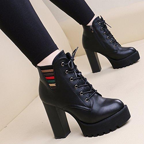 KHSKX-Flut Martin Stiefel Lace Up Damenschuhe Grundwasser Hochhackigen Kurze Stiefel Frauen Hart Bei Europäischen Und Amerikanischen Nackt - Stiefel black