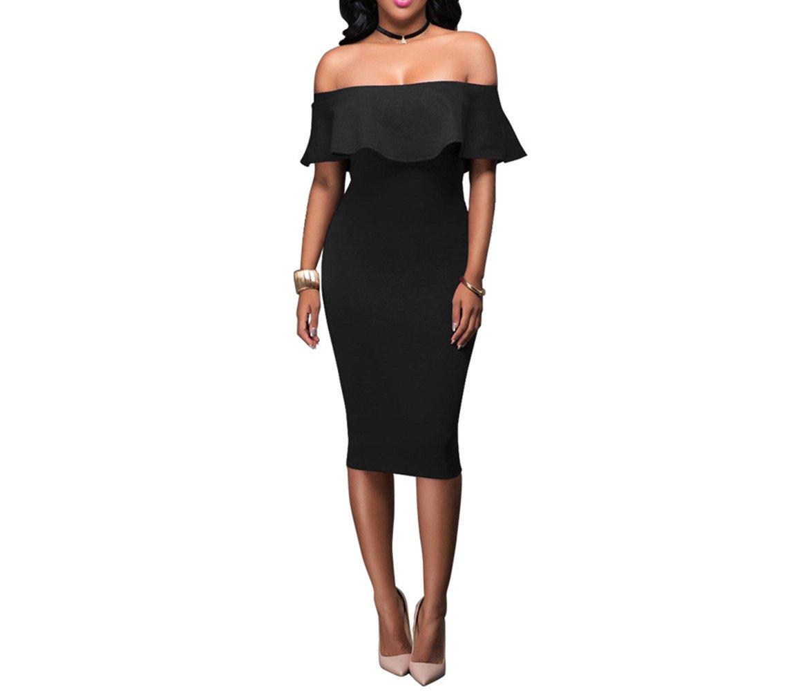 Hippolo donne sexy vestito foglia di loto abito senza spalline nero Black L