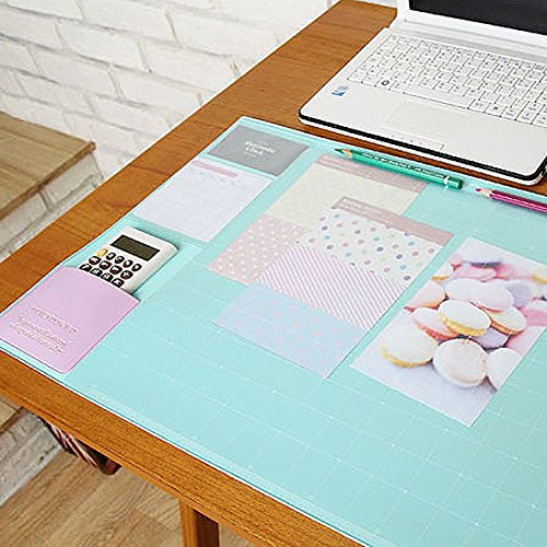 "Lovely Nonslip Desk Mat Clear PVC Cover Mouse Pad Writing Pad Decorative Desk Protector Desk Organizer , 21.65"" X 12.79"" (Mint) ()"
