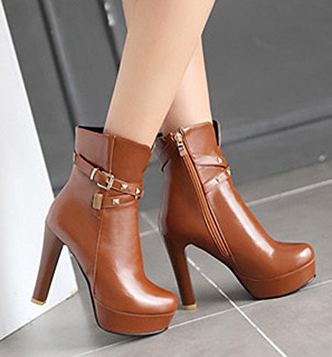 Aisun Womens Fashion Studded Buckle Strap Round Toe Side Zipper Dress Chunky High Heel Platform Booties Ankle Boots Shoes Brown NFWEceROr