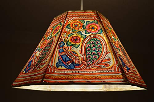 Hexagonal Ceiling Lamp shade   Hand Painted Pendant in Indian Peacock and Floral Pattern   Large Pendant shade in 9.5 inches Height, 16 inches Width.