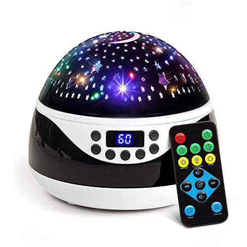 2019 Newest Baby Night Light, AnanBros Remote Control Star Projector with Timer Music Player, Rotating Star Night Light 9 Color Options, Best Night Lights for Kids Adults and Nursery Decor ()