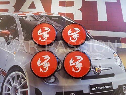 Radkappen Radzierblenden Abarth Nieten Fiat 500 Sporting Grande Punto Panda Bravo 50 Mm Auto