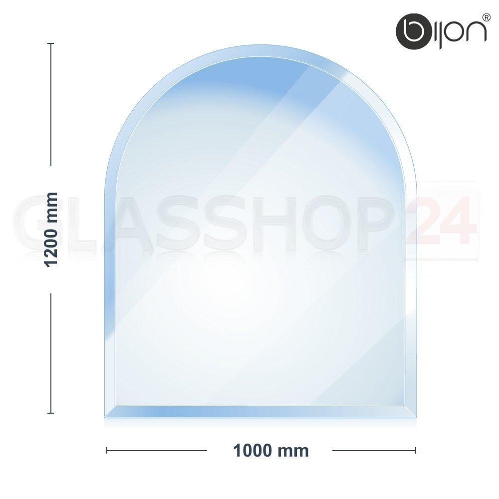 Bijon® - 6mm Kamin Glasbodenplatte - Rundbogen 1000 x 1200mm - 18mm Facette