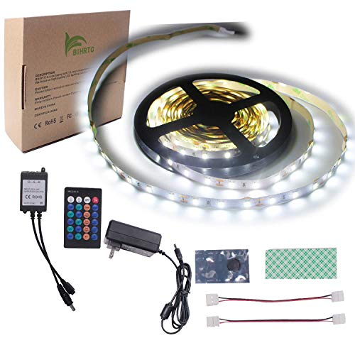 Box Waterproof Non (BIHRTC Non-Waterproof LED Light Strip Kit 5630 16.4 Ft 5M 300 LEDs 60 LEDs/m Daylight White Flexible Tape Lighting Tape + DC 12V 3A UL Listed Power Supply Adapter + 24 Keys IR Remote Controller)