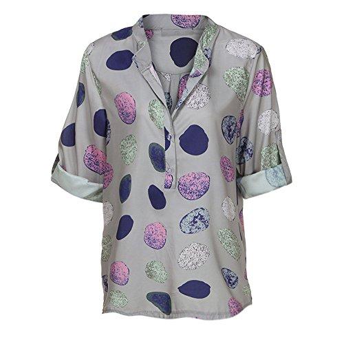 Lunghe Camicia Donna Camicetta shirt Autunno Eleganti Lunga tops Top Stampa Digitale Lavoro Maniche Pois Grigio Con Taglia Rovinci T A Da qxvzIfwE