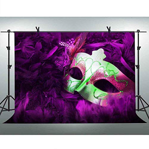 FLASIY 10x7ft Masquerade Photography Background Purple Mask Backdrop for Mardi Gras Birthday Prom Party Decorations Photo Studio Props -