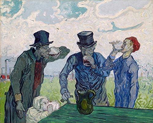 絵画風 壁紙ポスター(はがせるシール式) フィンセント ファン ゴッホ 酒を飲む人々 1890年 シカゴ美術館 キャラクロ K-GOH-095S2 (594mm×479mm) 建築用壁紙+耐候性塗料