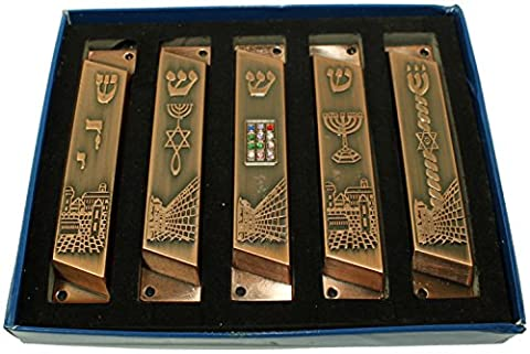 Large set of 5 Copper tone with clean and smooth cut and Gold plated Mezuzahs symbols with different enameled themes. Each is about 4 Inches and comes with Scrolls and screws for hanging