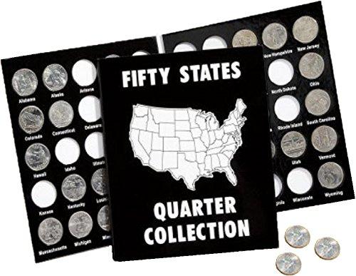 Album 50 Coin - 50 State Commemorative Quarter Folder 1999-2008 (Black and White)