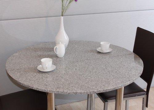 110 cm GRANIT-Tischplatte Tisch Esstisch Gartentisch Küchentisch Kreis F16b - echter Granit LUXUS