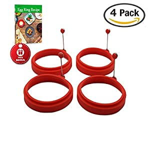 BPA-free, non-stick silicone egg ring by Piatelli kitchen for grill, frying pan, and griddle. Includes free egg ring guide recipe book.