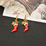 Hot Christmas Santa Claus Boot Stocking Crystal Enamel Dangle Earrings