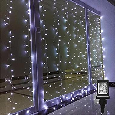 AMARS Linkable Low Voltage LED Curtain Lights Bedroom Waterfall Window Lights Outdoor Indoor UL Certificated String LED Fairy Lights for Wedding, Party, Home, Living Room (9.8ft 9.8ft, White)
