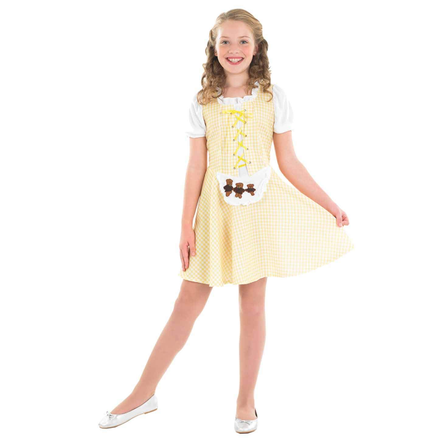 fun shack Girls Goldilocks Costume Kids Fairy Tale Dress Story Character  Outfit