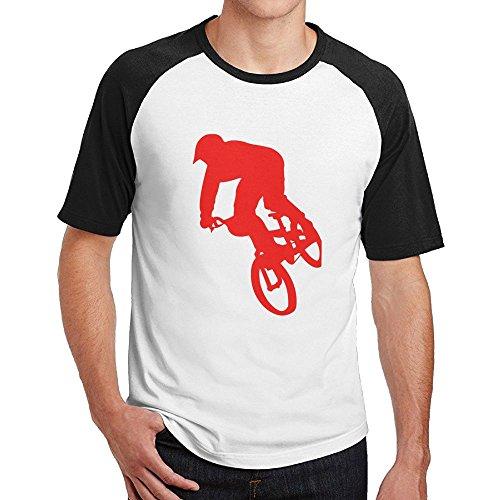 - Poii Qon Men A Red Boy Rider BMX Raglan Crew Neck Tee Cotton Short-Sleeve
