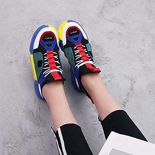 Womens Athletic up Shoes GIY Sport On Mesh Platform Casual Slip Running Sneaker Lace Comfort Blue Breathable d56wIq