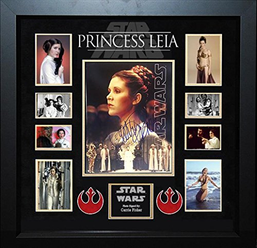 Star Wars Princess Leia Signed Photo   By The Late Carrie Fisher In Wood Frame