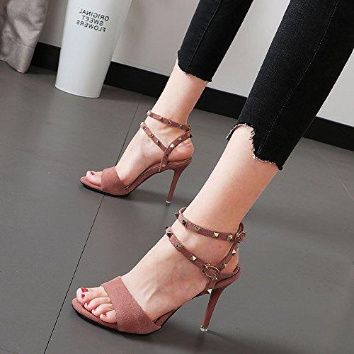 Xue Qiqi jeune fille sandales high-heeled rivets métal fixations oblongs, à la lumière de la personnalité fine avec élégant chaussures femmes tide,35, noir