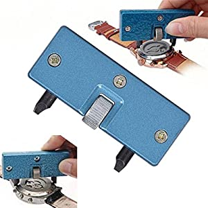 Professional Watch Back Remover Tool, Metal Adjustable Rectangle Watch Back Case Cover Press Closer & Opener Opening Removal Screw Wrench Repair Kit Tool for Watchmaker (Color: Blue, Tamaño: 70mmx28mm x11mm)