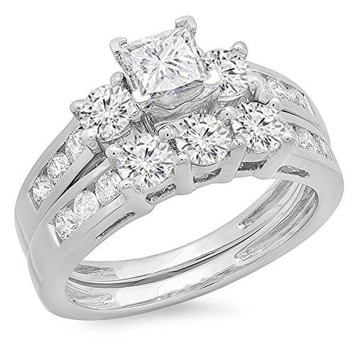 b68b3487d Dazzlingrock Collection IGI CERTIFIED 1.90 Carat (ctw) 14K Princess & Round  Diamond 3 Stone
