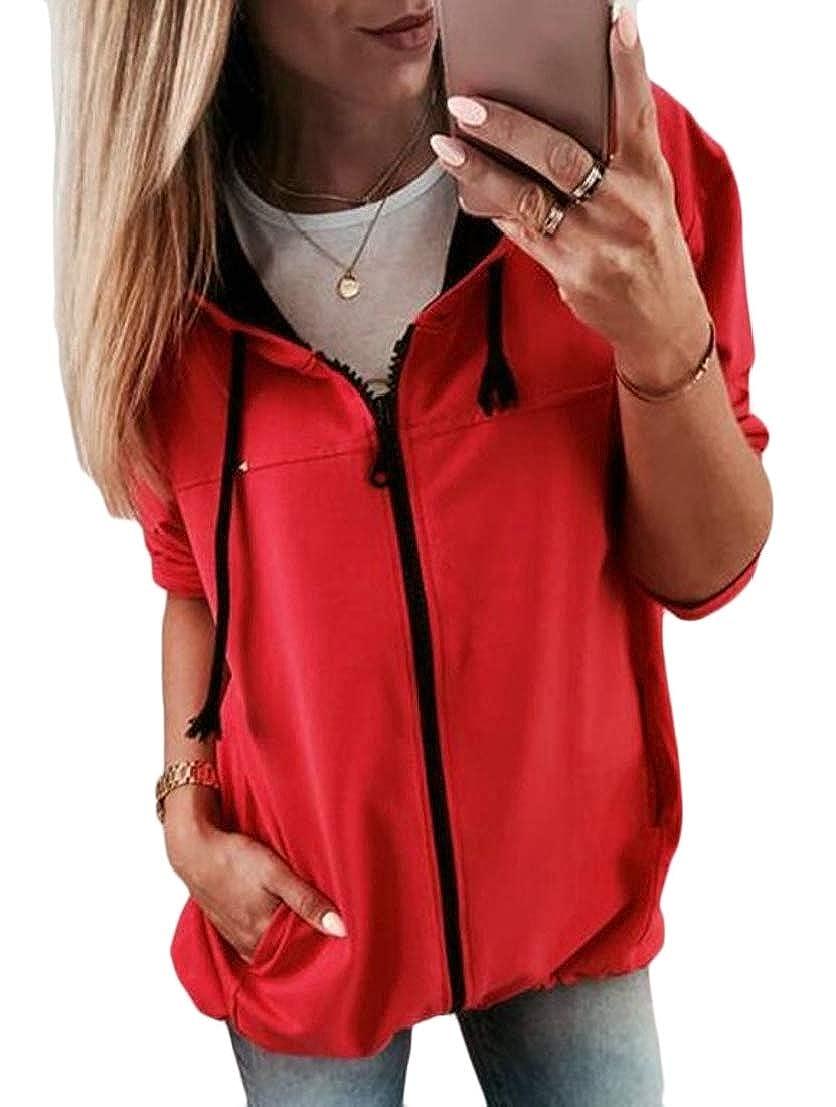 UNINUKOO Unko Women Drawstring Long Sleeve Pocket Zip up Solid Hooded Sweatshirts Hoodies