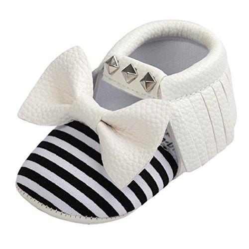 Zapatos de la suavidad del remache de la raya del Bowknot del bebé, niño de Koly embroma las zapatillas de deporte(0 ~ 18 Meses) (13, Oro) Blanco