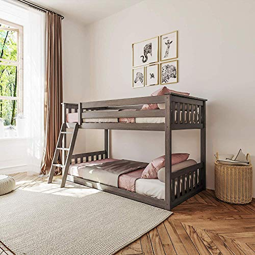 Max & Lily Solid Wood Twin Low Bunk Bed, Clay, Single