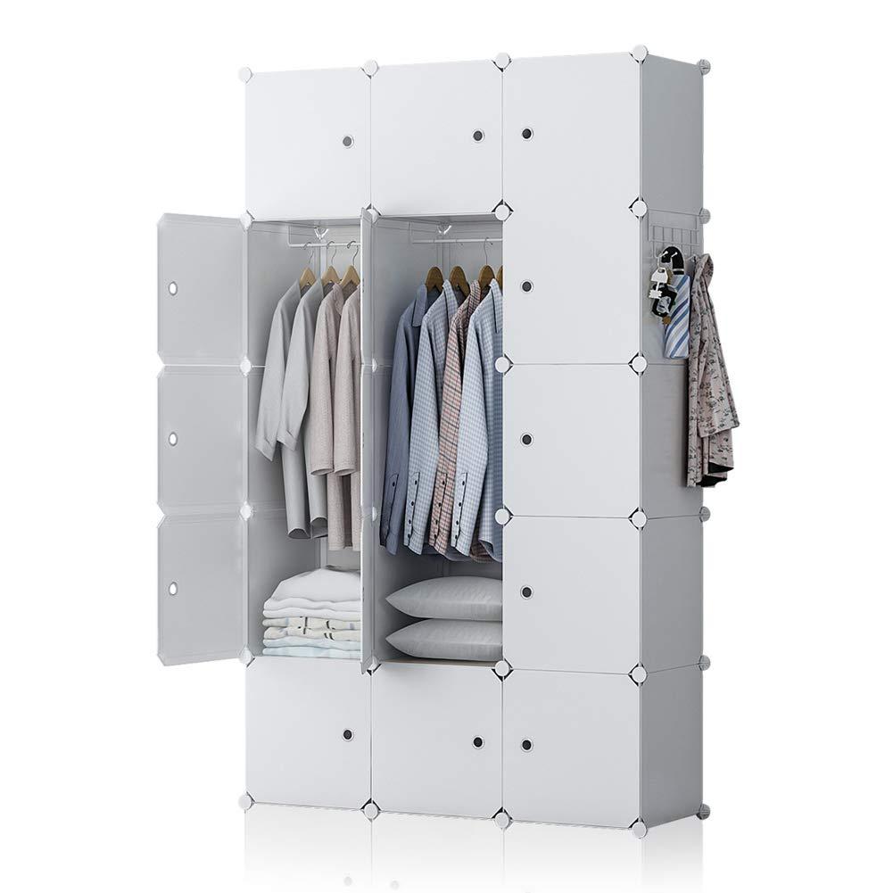 GEORGE&DANIS Portable Wardrobe Closet Plastic Dresser Bedroom Armoire DIY Cube Storage Organizer, White, 18 inches Depth, 3x5 Tiers by GEORGE&DANIS
