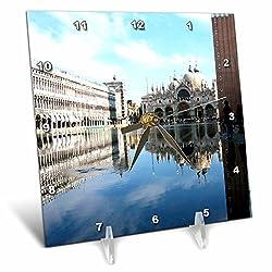 3dRose LLC Piazza San Marco Venezia Italy Desk Clock, 6 by 6-Inch