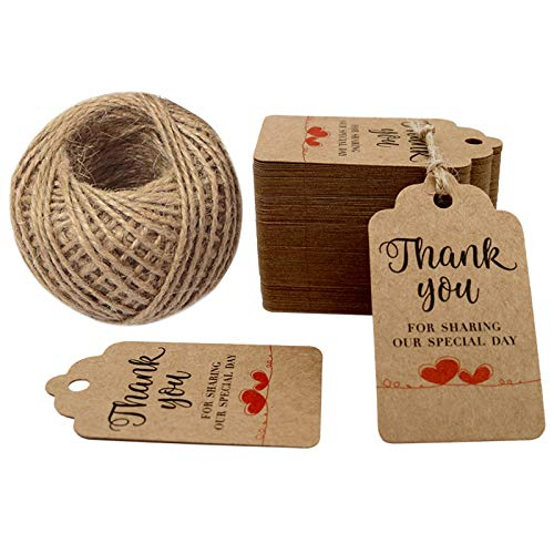 Thank You for Sharing Our Special Day - Bridal Wedding Gift Tags 100PCS Baby Shower Tags with 100 Feet Twine for DIY & Gift Wrapping (Brown) (Tags Bridal Hang)